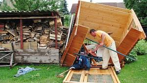 Tornádo poškodilo i několik domů ve Starých Čívicích včetně novostavby Michala Kopala