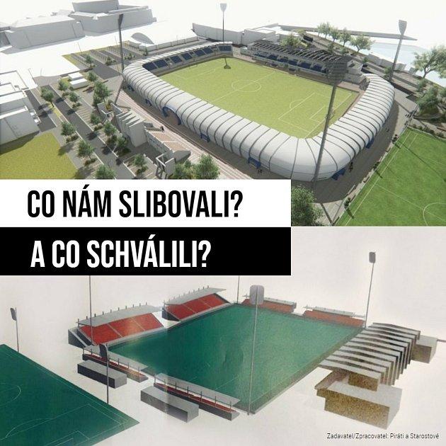 Porovnání projektu, na kterém město několik let pracovalo, a vítězného návrhu.