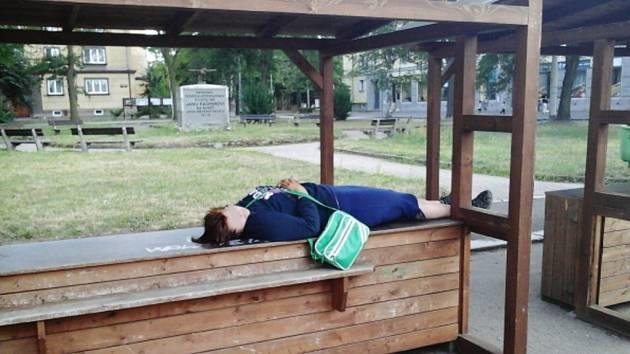 Opilá 15letá dívka ležela na pultu prodejního stánku.