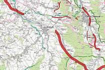 Přerušená dálnice. Tlustou červenou čarou je vyznačena trasa R35, v okolí Litomyšle ale správní soud její trasu zrušil, jak je patrné. Tenčími červenými čarami jsou vyznačené plánované obchvaty a přeložky stávajících silnic v okolí.