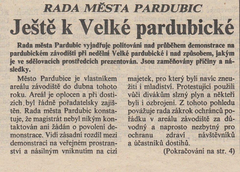 První strana Pardubických novin ze dne 16. října 1992. Zdroj: Státní okresní archiv Pardubice