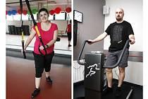 Dvojice soutěžících - Milena Konečná a Jan Kroužel, jsou již připraveni pustit se do zápasu s kilogramy.