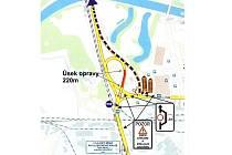 Mapa plánované uzavírky dne 6. října 2013