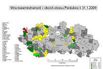 Mapa nezaměstnanosti v okrese Pardubice - leden 2009