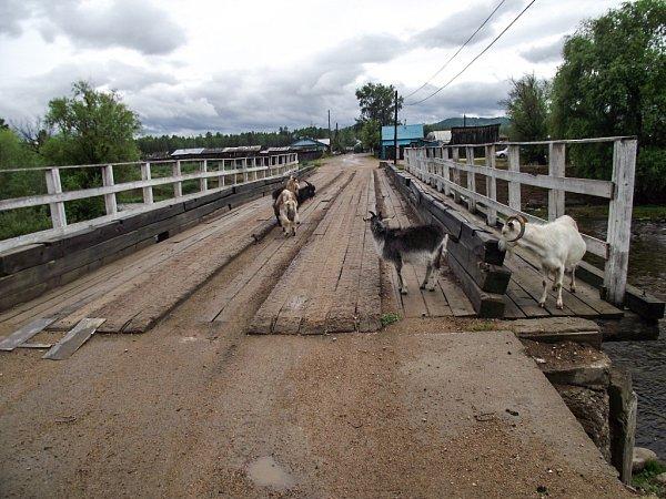 Cesta Jana Kováře Ruskem a Mongolskem 2015.Silnice a most kdesi vRusku. Ještě si nemáme nač stěžovat.