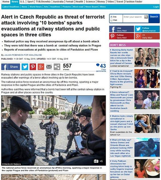 Britský deník Daily mail na fotografiích zPardubic postavil velkou část článku.