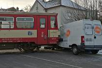 V Holicích došlo ke střetu dodávky s vlakem.