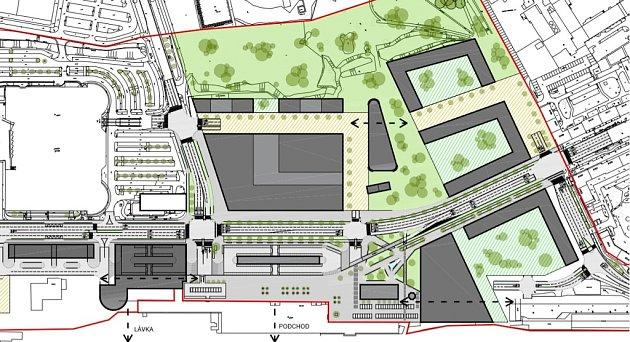 Možná podoba nového obchodního, bytového a administrativního komplexu na místě bývalého lihovaru a autobusového nádraží vPardubicích.