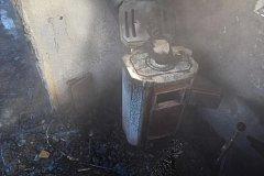 Požár dílny v obci Hluboká.