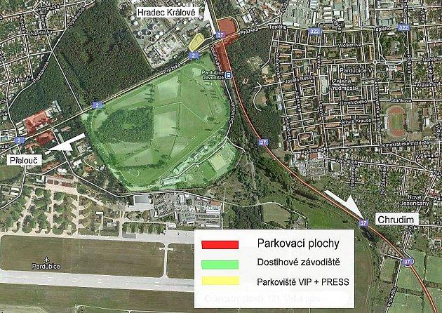 Plán parkovacích ploch pro 122. Velkou pardubickou