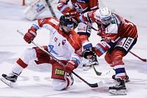 Hokejové utkání Tipsport extraligy v ledním hokeji mezi HC Dynamo Pardubice a HC Olomouc.
