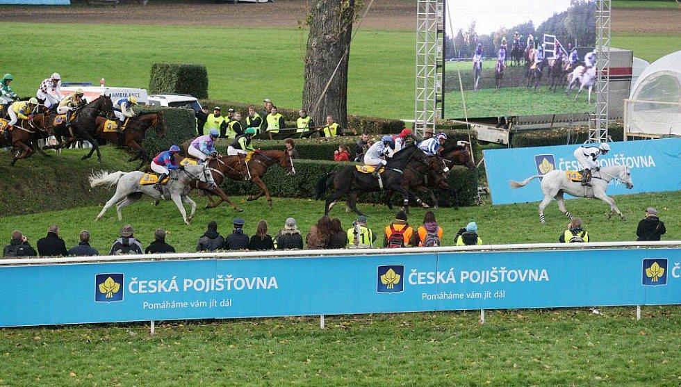 Koně překonávají drop před hlavní tribunou