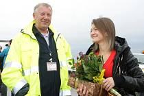 Jan Andrlík, ředitel EBA, která provozuje civilní letiště v Pardubicích a Olga Krupina