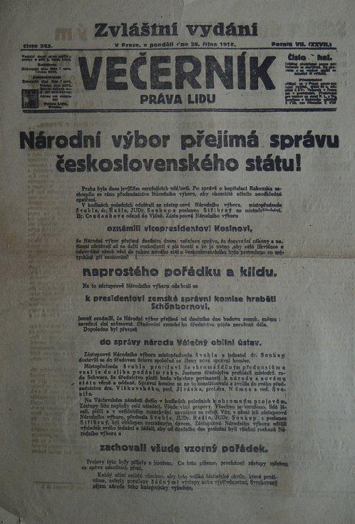 Večerník Práva Lidu z pondělí 28. října 1918.