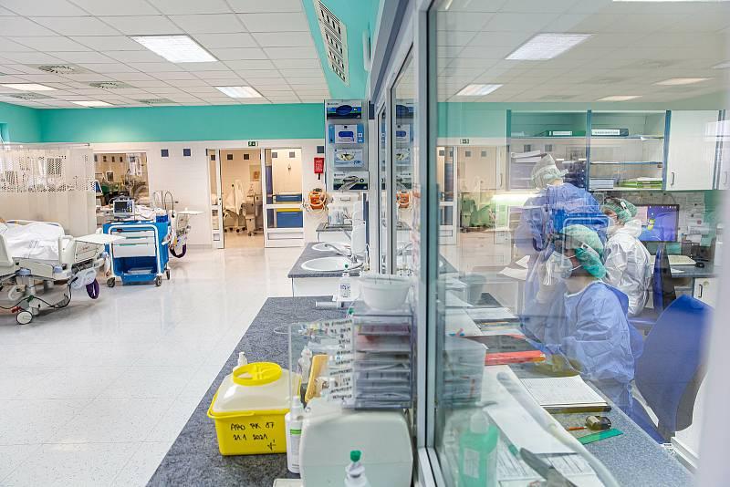 Zdravotnický personál se stará o COVID pacienty na ARO v Nemocnici Ryhnov nad Kněžnou. Již v několikáté vlně a stále pozitivní personál a lidský přístup jako by se starali o své příbuzné..