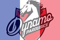 Logo fotky hokejového klubu Dynamo Pardubice přebarvené francouzskou trilkolorou.