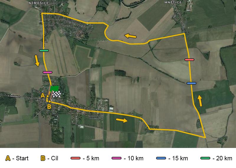 Ostřešanský půlmaraton - trasa