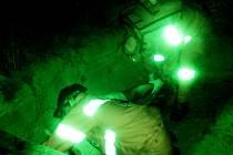 Záchranářské práce při simulované nehodě