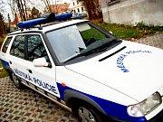 Pes odchycený strážníky městské policie v ulici Dvouletky ve Zruči nad Sázavou.