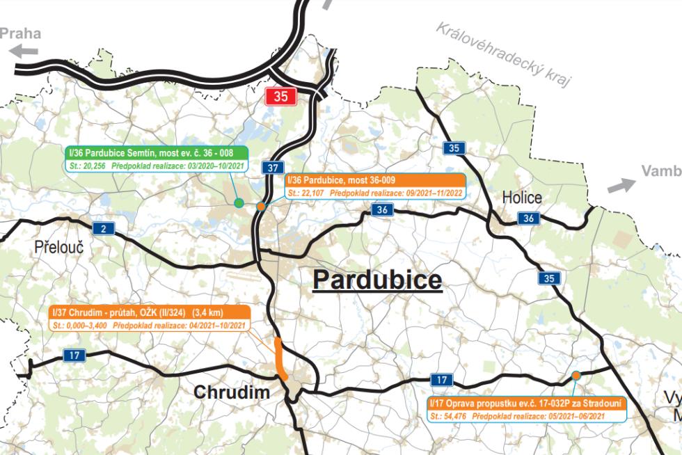 Pardubicko. Plán oprav silnic I. tříd v Pardubickém kraji