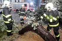 Hasiči po nedělní bouřce odstraňují spadlý strom v ulici Arnošta z Pardubic.
