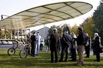 Křest repliky Kašparova Bleriotu na pardubickém letišti