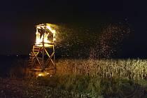 Požár posedu u Pardubic