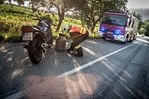 Nehoda motocyklu u Kostěnic.