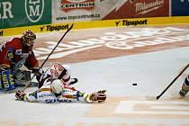 Hokejový zápas mezi HC Moeller Pardubice a HC Slavia Praha