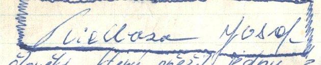 Josef Kielbasa. Podpis muže, který přežil zkázu Titanicu.