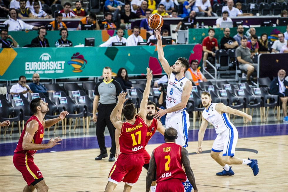 Z basketbalového duelu Česko - Černá Hora na ME 2017.