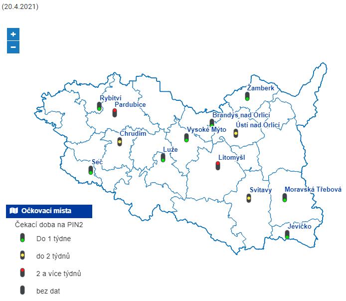 Aktuální dostupná kapacita očkovacích center v kraji, stav k 20. dubnu