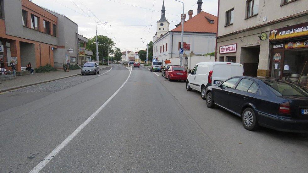 Místo dopravní nehody v Lázních Bohdaneč.