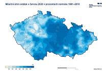 Nejvyšší úhrny srážek byly v červnu v Pardubickém kraji, lokálně pak rovněž v Jeseníkách, Jizerských horách a Beskydech.