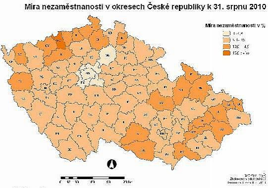 Míra nezaměstnanosti vokresech ČR k31. srpnu 2010