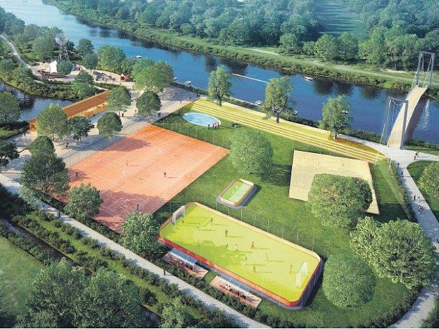 Vizualizace revitalizace parku Na Špici.