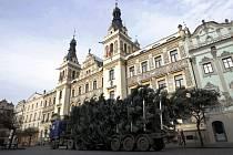 Stříbrný smrk ze Sakařovy ulice putoval na Pernštýnské náměstí na podvalníku.