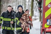 Vykoupanou a zmrzlou fenku předali hasiči po vylovení její majitelce, která s ní zamířila k veterináři.