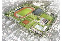 Projekt stadionu na Dukle v Pardubicích.
