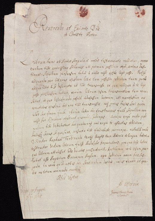 Dopis Jana Macuse Marciho z roku 1665 Athanasiu Kircherovi,  který do Říma doprovázel zásilku se záhadným rukopisem.