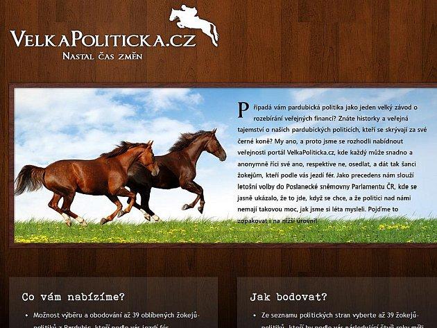 Homepage webu Velkápolitická.cz
