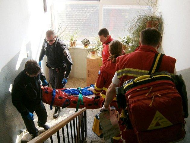 Než mohli zraněnou důchodkyni převzít zdravotníci, museli se do bytu dostat hasiči s pomocí žebříku.