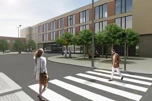 Návrh možné podoby bytového domu u nádraží. I s průjezdem pro autobusy.