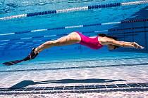 Irina Veverka při volném potápění.