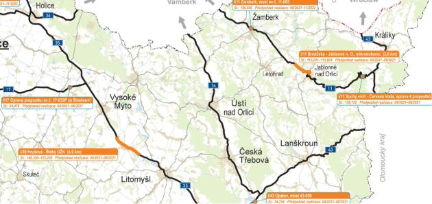 Plán oprav silnic I. tříd vPardubickém kraji vroce 2021