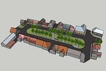 3D model současné podoby Komenského náměstí v Horním Jelení
