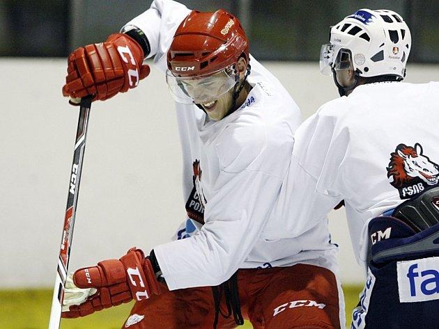 Nová výzbroj. Z Ameriky si Tomáš Nosek (vlevo) přivezl věci, ve kterých bude válet v předsezonním kempu, a na svůj velký boj o NHL se chystá s bývalými pardubickými spoluhráči. Do zámoří odletí na konci prázdnin. Prosadí se v Detroitu okamžitě?