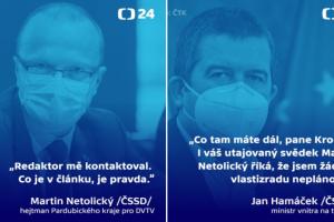 Hejtman Netolický potvrdil, že s ním Hamáček o chystané cestě do Moskvy mluvil
