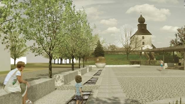 Nová náves se potáhne od románského kostela až k rybníku Pastouška.