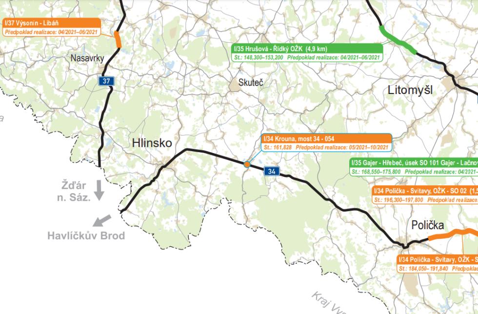Chrudimsko. Plán oprav silnic I. tříd v Pardubickém kraji